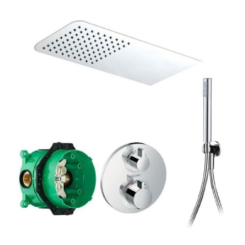 Abacus Emotion Plus Thermostatic Concealed Shower Kit With Rectangle Shower Head And Handset